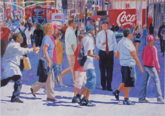painting of Times Square New York City broadway by Edie Fagan
