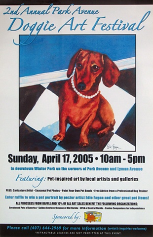 watercolor painting of Doggie Art Festival 2005 dachshund Winter Park by Edie Fagan