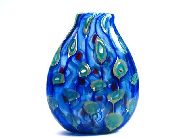 Peacock Aquatic Murrine Vase
