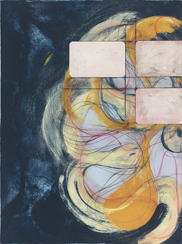 "Chris Smith, artist, Chicago, Untitled IM31, 2014, acrylic, collage and charcoal on panel, 24"" x 18"""