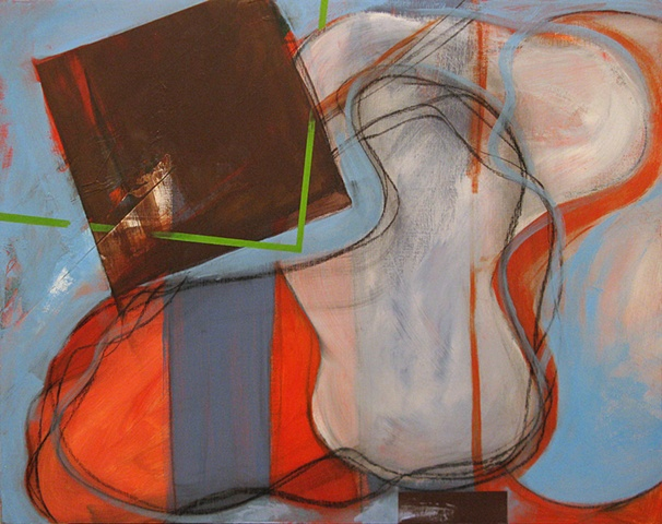 """Chris D Smith, Chicago, IL Artist, Abstract Painter, Untitled IM20, 2010, acrylic and charcoal on panel, 16"""" x 20"""""""