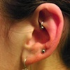 Rook piercing with 18gauge captive bead ring