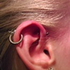 forward helix piercing with 18gauge implant-grade titanium barbell from Neometal