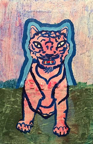 small contemporary art pink tiger acrylic painting illustration whimsical fun original artwork