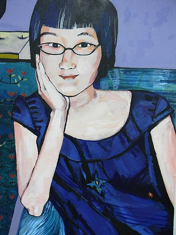 This is a whimsical portrait of Richmond, VA artist Aijung Kim.