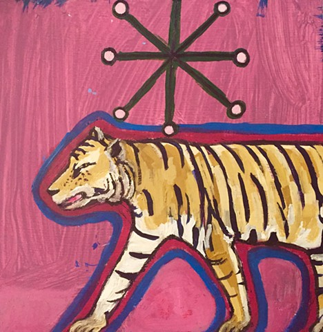 Pink Tiger Art Acrylic Painting Small Square Whimsical Animal Illustration Rochester New York Artist Rina Drescher