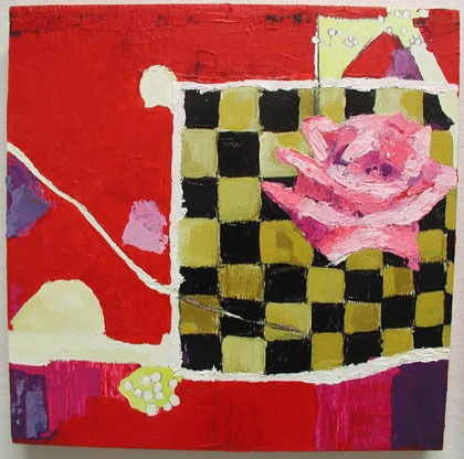 rose, red, Gertrude Stein, painting, art, Rina Miriam Drescher, artist, statement, original