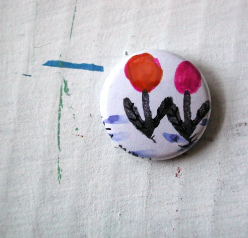 two flowers, pinback button, art, artwork, wearable, one of a kind, OOAK, monoprint, painting, flower