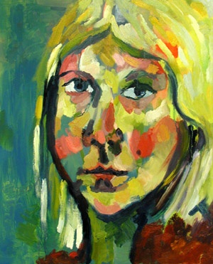 this is a self portrait oil painting of artist Rina Miriam Drescher