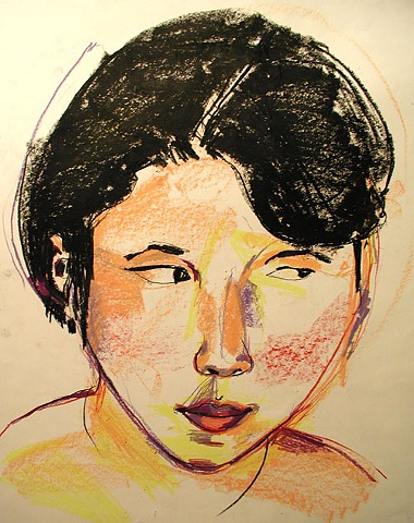 drawing, crayon, original, ooak, one of a kind, art, Rochester, NY, artist, artwork, young, woman, face, portrait