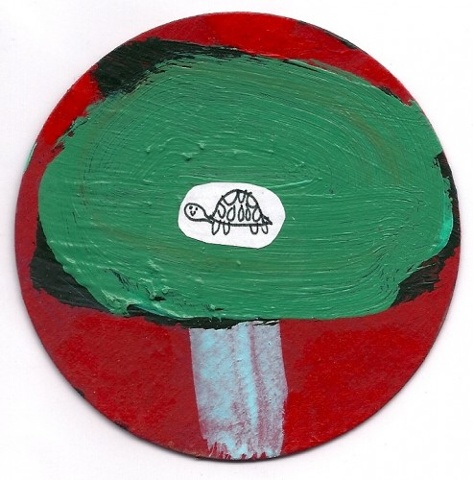 turtle, tree, round, art, circle, painting, small, original, fine art, green, red, cardboard, aceo