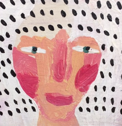 this is a small painting of a woman with black and white polka dot hair by Rochester New York artist and illustrator Rina Miriam Drescher