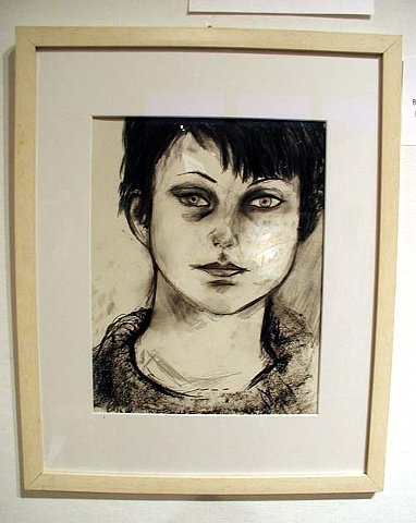 charcoal drawing, auction, art, original drawing, portrait, artist, Rina Miriam Drescher, Rochester, NY, contemporary art