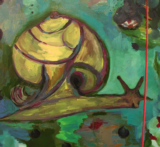 this is a detail view of an oil painting of a snail by contemporary artist Rina Miriam Drescher that is mostly green and yellow
