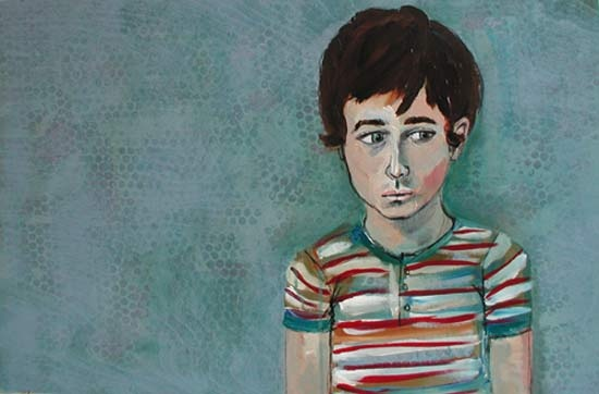 blue contemporary art acrylic portrait of a young man, boy