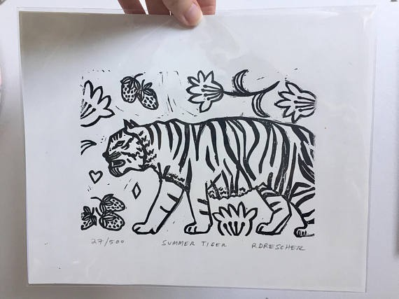 black and white summer tiger limited edition hand pulled linoleum block print Rina Miriam Drescher Rochester New York Artist
