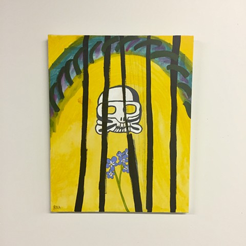 original painting of a white skull and forget me not flowers, yellow acrylic fine art original