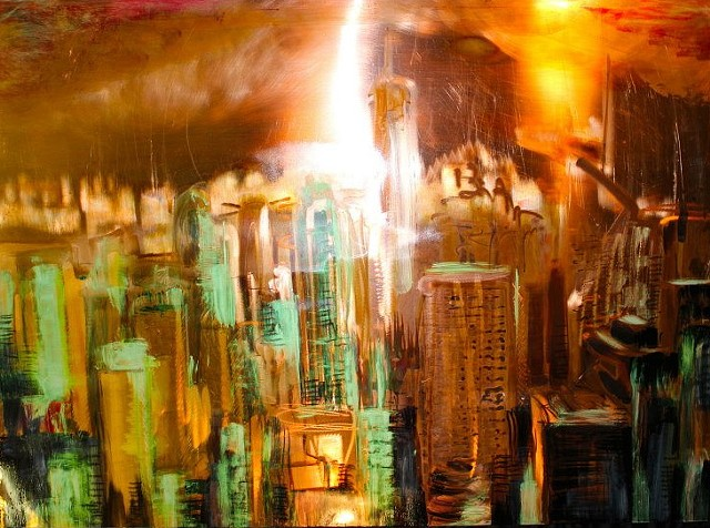 Part of cities series. Metal painting,
