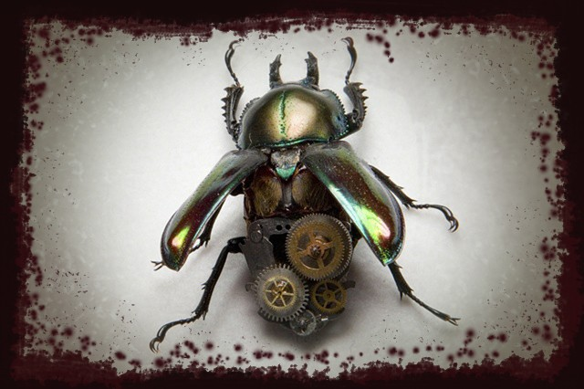 Brilliant Metallic looking Stag Beetle with Metallic Gears Mechanical, Insect, Bugs, Gears, Steampunk, Steam Punk by Lindsey Bessanson