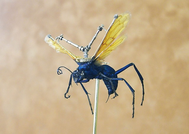 Giant Tarantula Hawk Wasp with Gears, Blue Wasp, Flying Machine, Gears, Steampunk, Steam Punk by Lindsey Bessanson