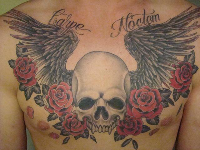 skull wings roses