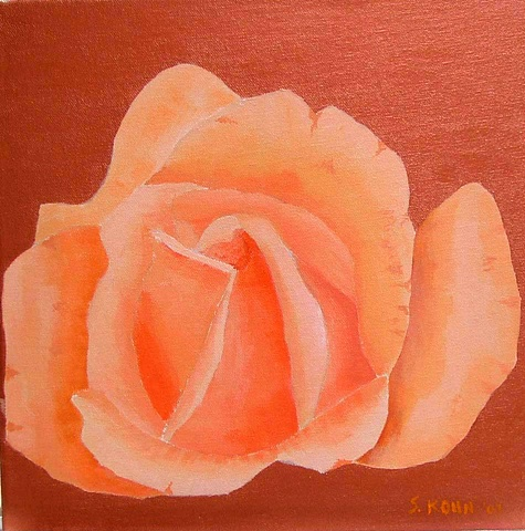 Peach Rose on Metallic Copper