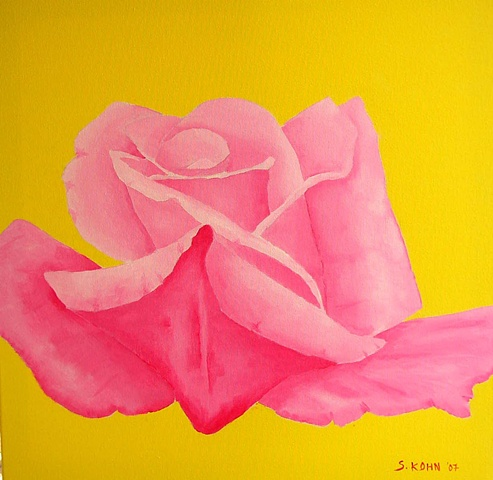 Magenta Rose on Yellow
