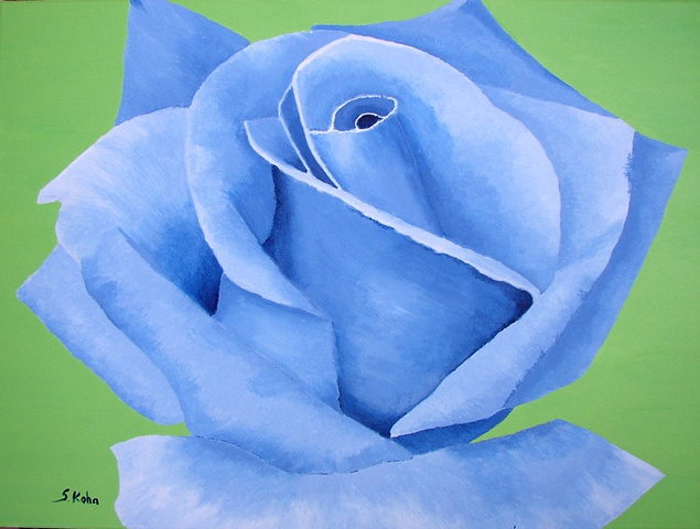 Blue Rose on Apple Green