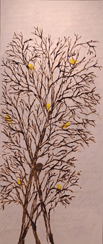Yellow Warblers in Wild Plum Trees #3 (after Keats' Ode to a Nightingale