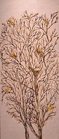 Yellow Warblers in Wild Plum Trees #1  (after John Keats' Ode to a Nightingale)