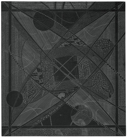 graphite drawings of possible atoms or galaxy by artist Michael Tegland