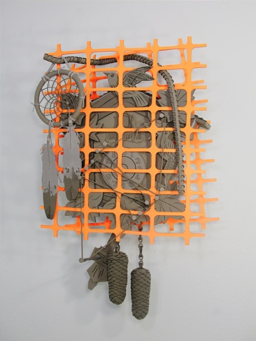 """Moore's Law"" cuckoo clock, construction fence, dreamcatcher, cat's cradle, and rebar"