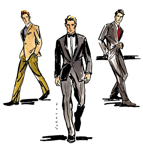 For Men: A tuxedo, business suit, and casual suit.