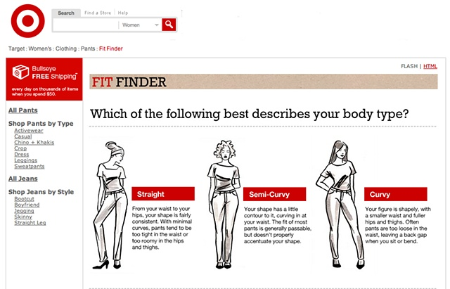 Target wants to know your body type...