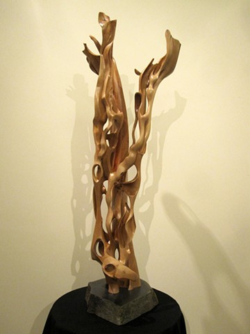 Wood sculpture abstract art carving geoff rushton