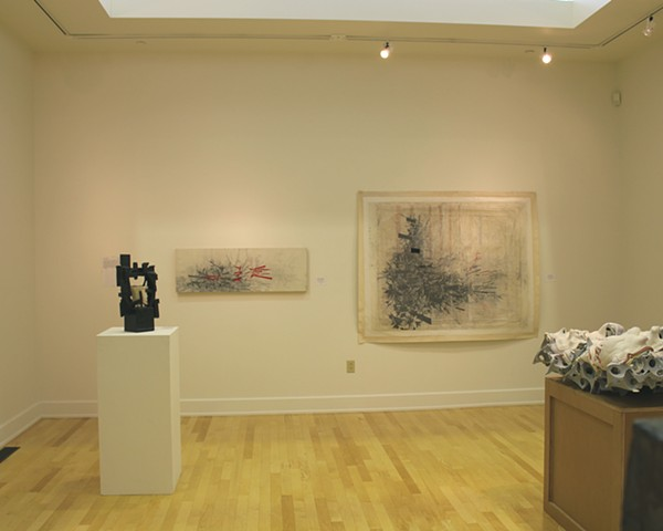 Installation view of works in the exhibition Art Forms at the Hartford Constitution Plaza gallery. The two works are Hyper-Retaliation& (left) and Lucky Fiction (right).