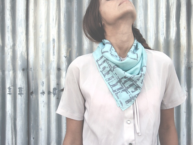Japanese Art Deco Inspired Scarf (Crisp Cucumber)