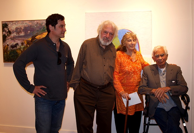 "Mark Kanter, Paul Resika, Mary Frank and Nicolas Carone in front of a painting by Rosemarie Beck at ""North of New York: The New York School Generation in The Hudson Valley Region"", May 2010"