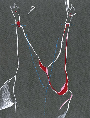 Instructional Drawing  (Skinning Diagram I), 2010 gouache on watercolor paper laura ginn bailey artomatic frederick maryland 2016
