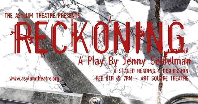 Banner for February 8, 2015 reading at the Asylum Theatre.