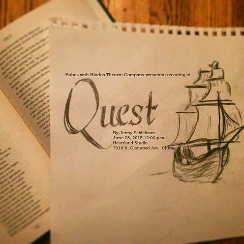 """Quest"" poster for June 28, 2015 reading by Patti Moore."