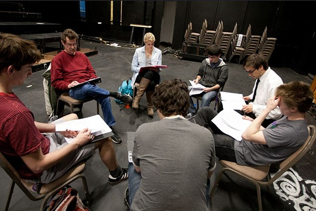 Director Isaac Miller with actors Sherwood Kiraly, Samantha Zimay, Jose Guzman, Boe Chmil, Micah Snow, Mitch Wise, in rehearsal for the April 12 and 13, 2013 readings at Knox College. Photo by Peter Bailey.