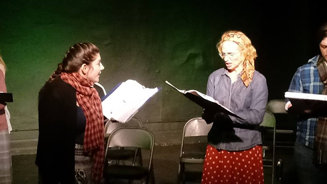 Jessica Lauren Fisher and Julie Partyka in the reading at Idle Muse Theatre Company.