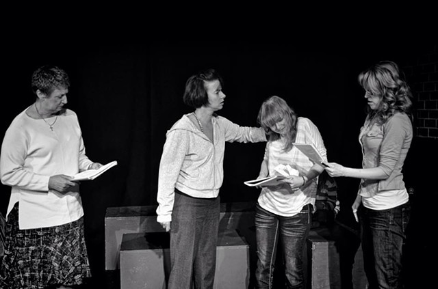 Barbara King, Vanessa Coleman, Alexa Josey and Jessica Hird in the reading at The Asylum Theatre.