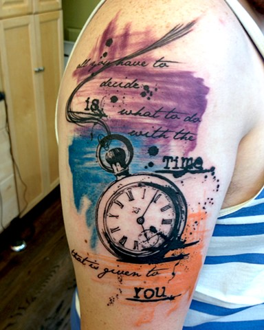 Pocket watch with ink splatter and brush strokes