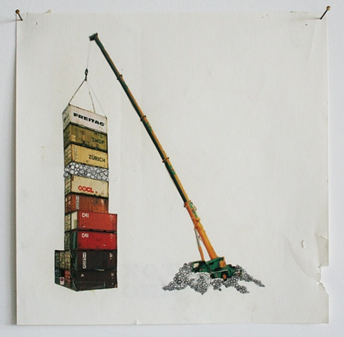 """crane with shipping containers"" (collage)"