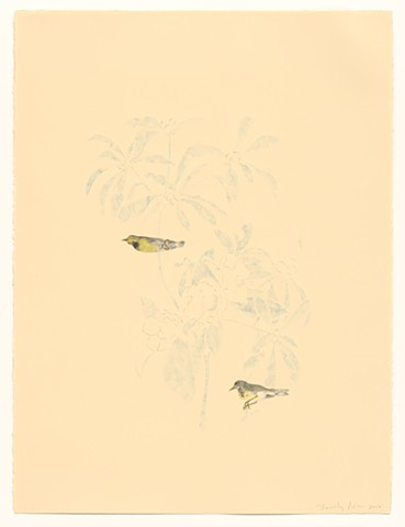the composition is based on Audubon's print of the same title. the paper is carved on the back and cut through in some spots