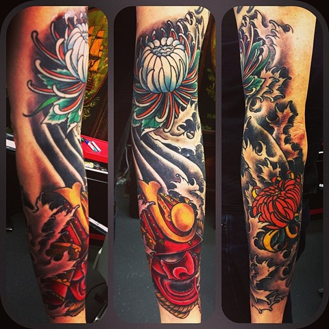 Japanese Warrior Sleeve Tattoo Designs Japanese Samurai Sleeve Tattoo