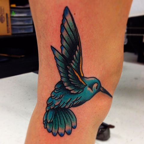 an old school, traditional hummingbird tattoo by vincent. vincentiusmaximus