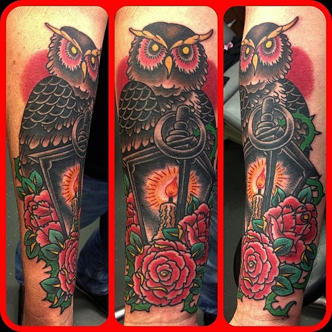 an old school, traditional tattoo of an owl with a lantern and roses by vincent. vincentiusmaximus